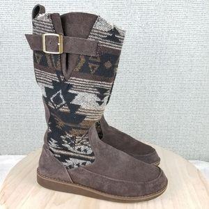 Sanuk Siena Black Navajo Suede Tall Faux Fur Boots